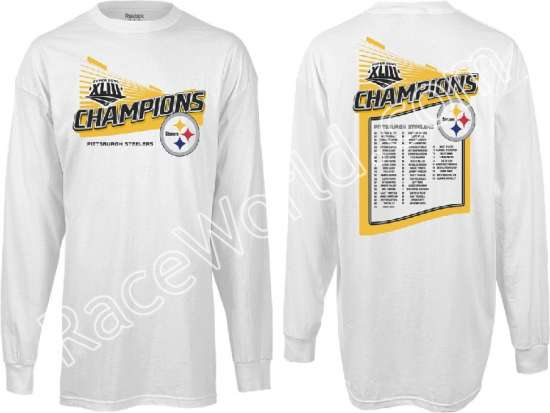 8f2cd68651c Reebok Pittsburgh Steelers Super Bowl XLIII Champions Roster Long Sleeve T- Shirt -Size Large  The long-sleeve cotton t-shirt is designed with the team  name