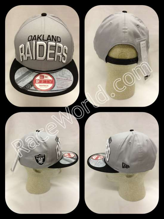 bc745575aca Oakland Raiders Interchangeable NEW ERA Reverse Arch Snapback Cap    Features a raised embroidered team name on front and embroidered team logo  on right.