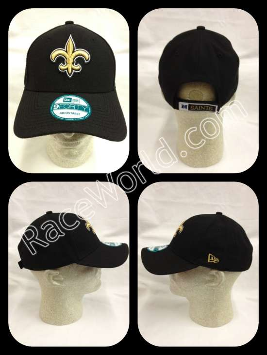 hot sale online ab964 95c2d New Orleans Saints Black New Era 9FORTY First Down Adjustable Hat    Features embroidered team design and adjustable back. •Adjustable Fit Hat  •Six panel ...